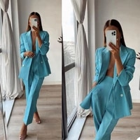 lake blue women suits full sleeve blazers jacket wide leg pant two pieces sets lady outfits work clothes tuxedos