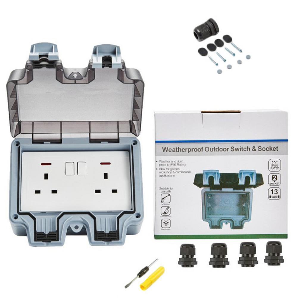 Waterproof Socket IP66 Dust-proof UK Regulation Outlet 220V-250V Indoor Wall Power Socket For Outdoor Garden Garage