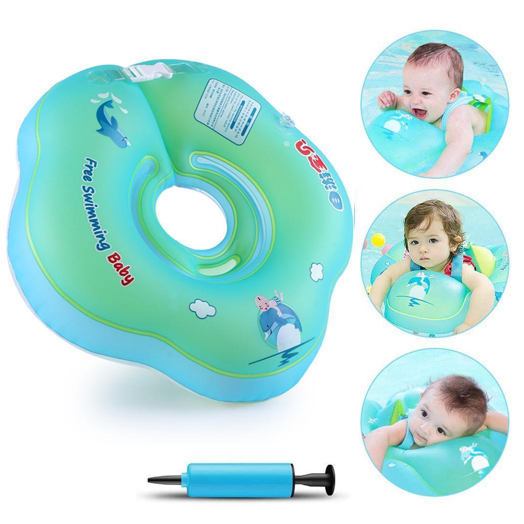 Newborns Baby Inflatable Neck Float Swimming Blue Pool <3Years Cartoon Swimming Ring