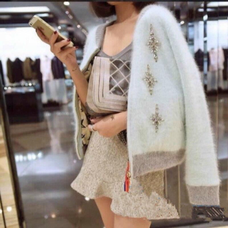 High Quality Women Sweater Cardigan Long  Sleeve Knitwear 2019 Autumn Winter Patchwork Diamond Mosaic Mink Cashmere Outwear