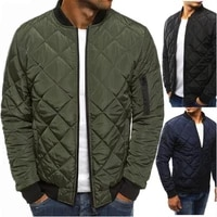 fashion zip up puffer men outwear tops casual padded jacket bomber warm coat mens cotton stand collar short cotton jacket