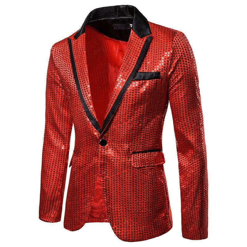 Blazer Retro de lujo para hombre, de marca a la moda, dorado brillante, con lentejuelas brillantes, adornado, ajustado y brillante, traje para hombre, Blazer para fiesta de boda