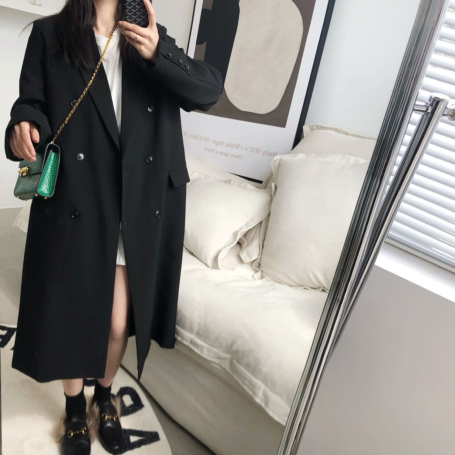 Spring Autumn 2021 4 Colors Long Suit Jacket Women Korean Plaid New Trench Fashion Notched Office Bl