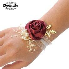 Kyunovia-pulsera de dama de honor, ramillete de boda, cinta de poliéster, flores rosas, lazo de perlas, Bridel, regalos, ramillete de muñeca BY53