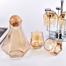 Clear Cold Water Jug Juice Luxury Diamond Shape Glass Water Kettle with Natural Wood Ball Lid Bevera