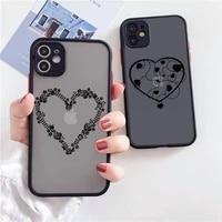 simple lines love heart phone case for iphone 12 11 mini pro xr xs max 7 8 plus x matte transparent back cover
