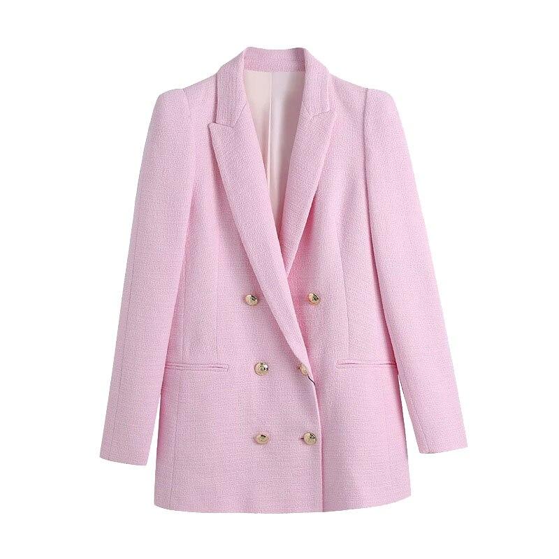 السترة معطف المرأة موضة مزدوجة الصدر تويدفينتيج كم طويل منصات الكتف الإناث ملابس خارجية شيك فيست