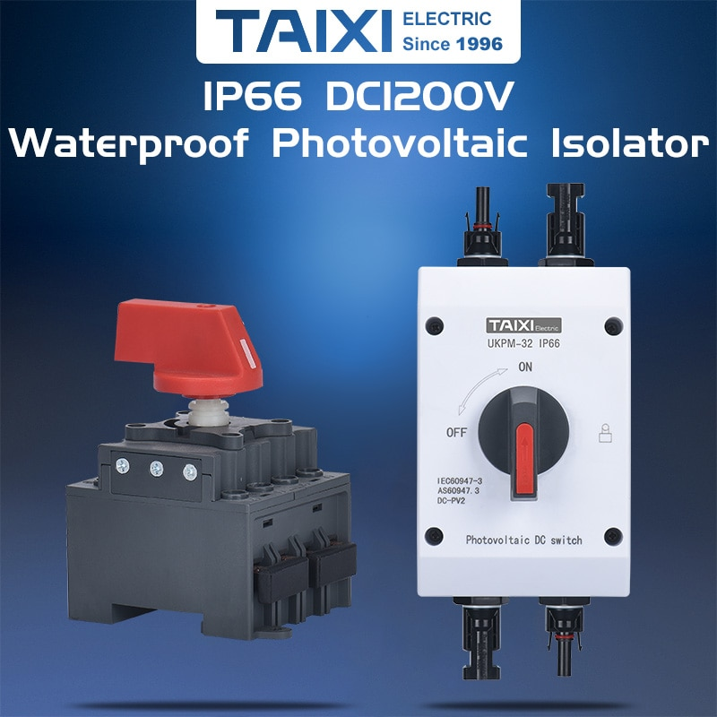 Outdoor Waterproof IP66 Solar DC 1000V 1200V 16A 32A Breaker PV Photovoltaic Isolator Isolating Switch with Connectors
