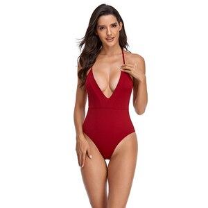 2021 закрытый купальный костюм с пряжкой с высоким вырезом, женская одежда для плавания, однотонный Монокини, пляжная одежда, купальный костюм с пуш-ап, одежда для плавания