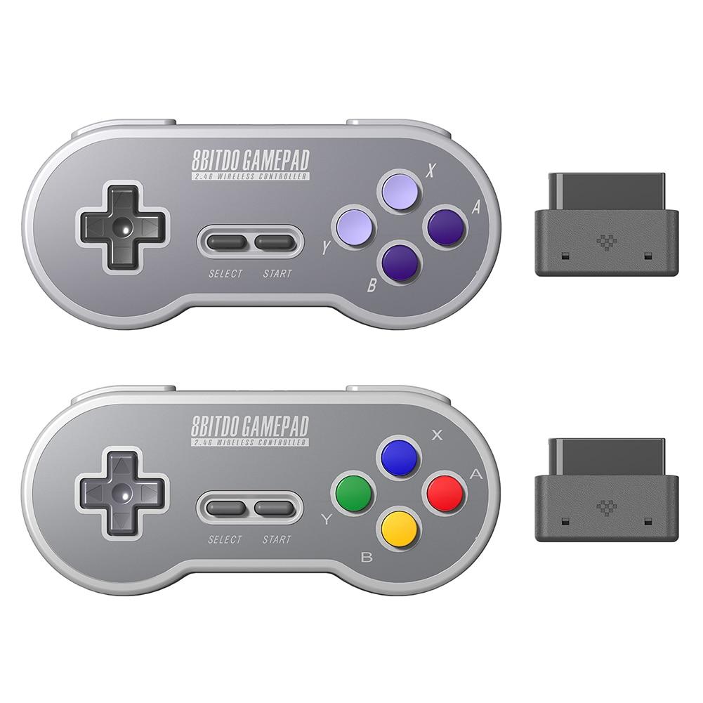 Mando de juego inalámbrico 2,4 GHZ Joypad controlador de Joystick para NES/SNES Super Nintendo Classic PC Android controlador USB inalámbrico