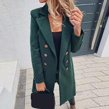 Chaqueta de otoño 2019 para mujer, abrigos de Color liso a la moda, Tops básicos con doble botonadura, nuevos tops de mezcla de lana de dos capas, Tops de abrigo de lana