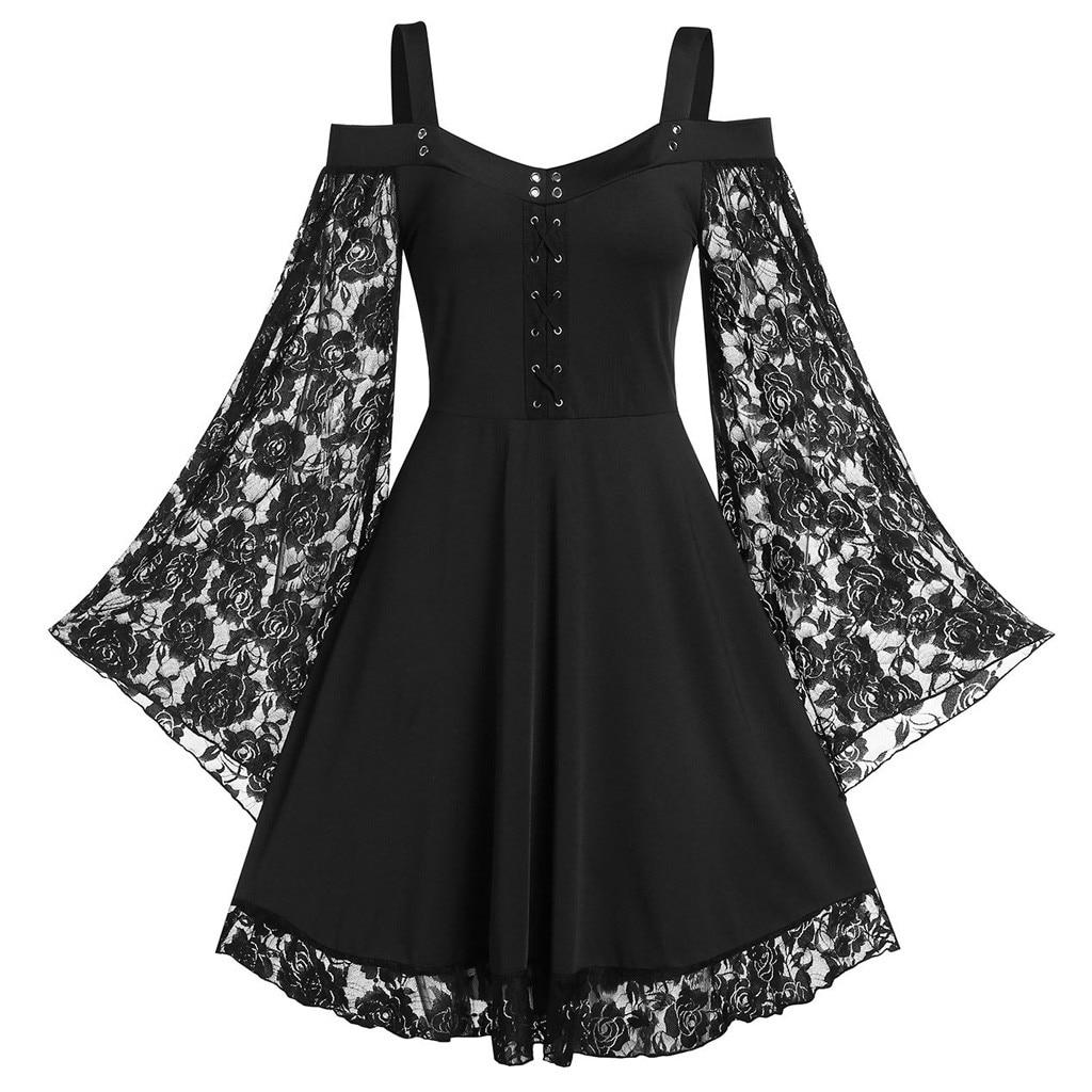 Gothic Dress for Women 2020 Patchwork Flare Sleeve Cross Corn Cold Shoulder Lace Up Insert Sling Dress Punk Ladies Vestidos