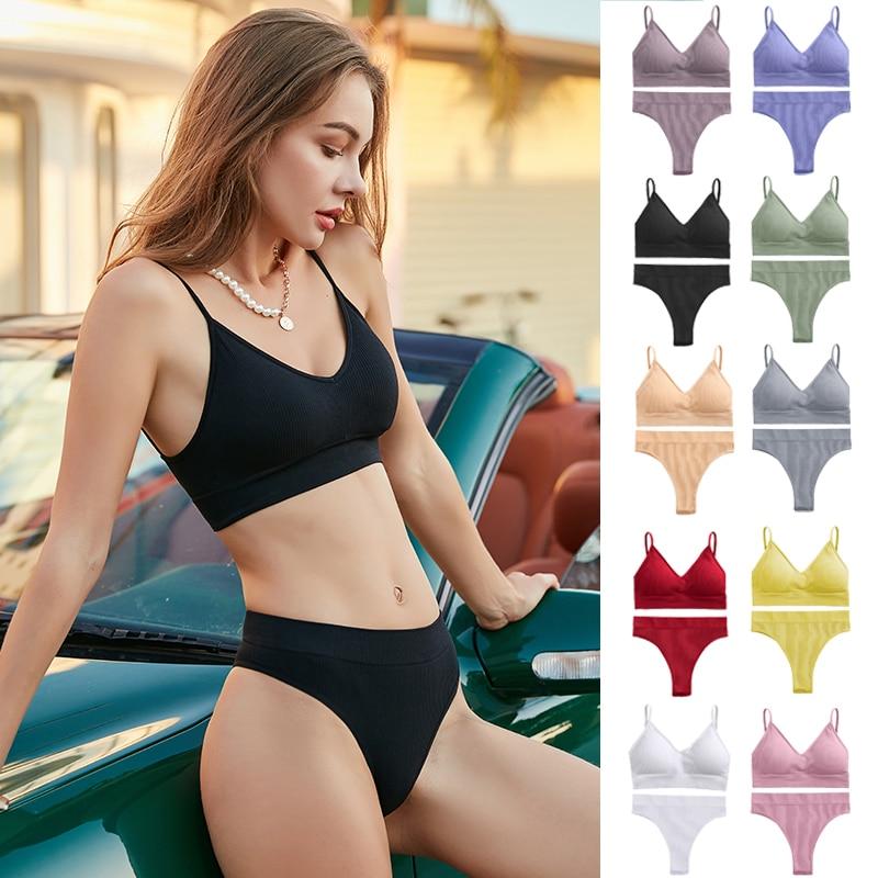 FINETOO Women Padded Bra Brazilian Panties Set Seamless Tops Sports Bra Set Sexy Thongs Girl Lingerie Fitness Crop Top Underwear