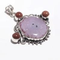 genuine solar quartz pendant silver overlay over copper jewelry hand made women jewelry gift