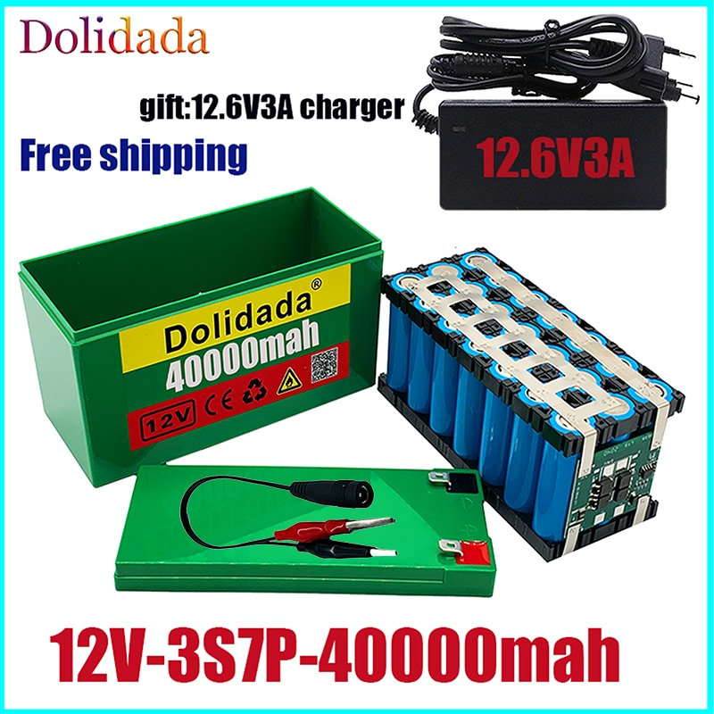 Литиевый аккумулятор new12V40Ah 3S7P 18650 + зарядное устройство 12,6 в 3A, встроенный блок BMS 40 Ач высокого тока, используется для распылителя, источник питания 12 В