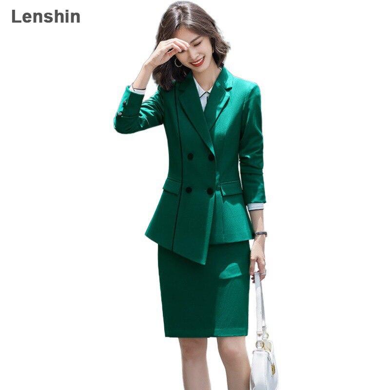 Lenshin 2 قطعة أنيقة الرسمي الأخضر تنورة دعوى الأزياء عدم التماثل السترة مكتب سيدة موحدة تصاميم سيدات الأعمال مجموعات
