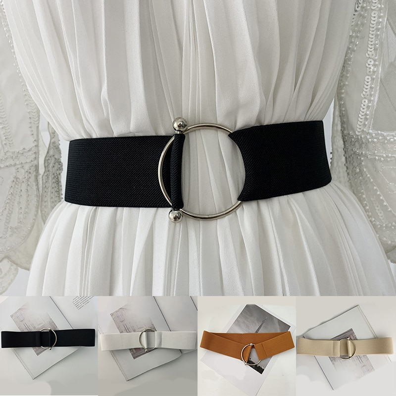 Lady Wide Elastic Corset Waist Metal Buckle Casual Waistband Fashion Waist Belt Stretch Women Dress Belt Accessories funny rectangle buckle embellished furry wide waist belt
