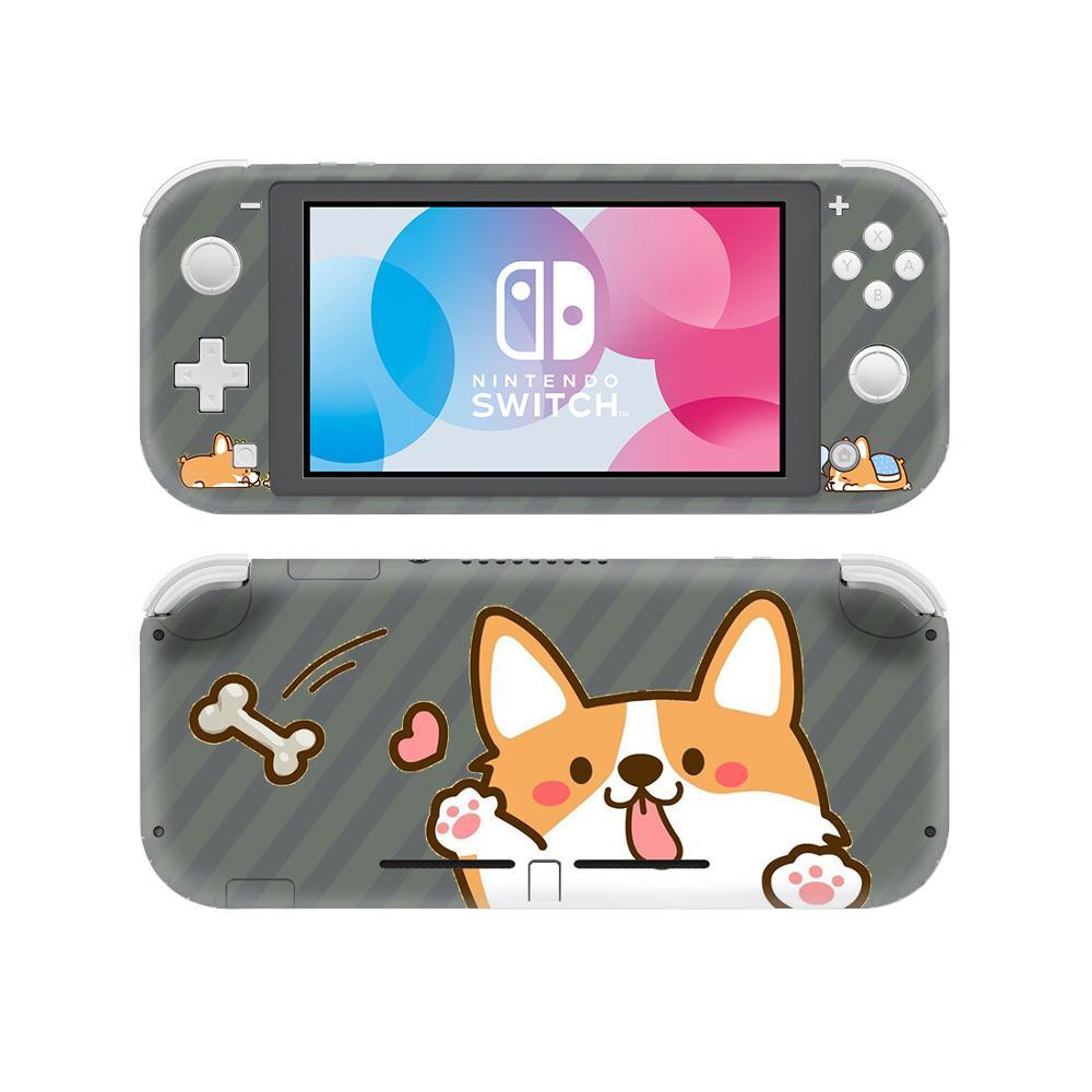 Dibujos Animados Corgi Dog NintendoSwitch pegatina de piel cubierta para Nintendo Switch Lite Protector Nintend Switch Lite pegatina de piel