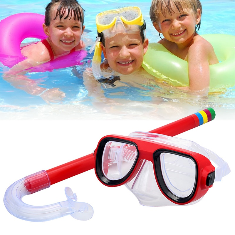 Child Diving Snorkeling Swimming Scuba Total Dry Snorkel And Mask Glass Lens Anti-Fog Goggles Mask Snorkel Set Swim Eyewear deepgear nearsighted diving mask for adult clear pc myopia lens scuba mask short sighted divers scuba mask top snorkel gears