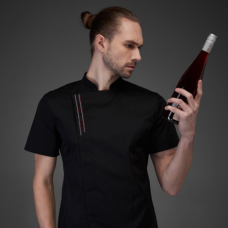 Summer chef costume cook jacket male chefs white shirt Restaurant Uniform Barber Shop Workwear Overalls black sous chef coat