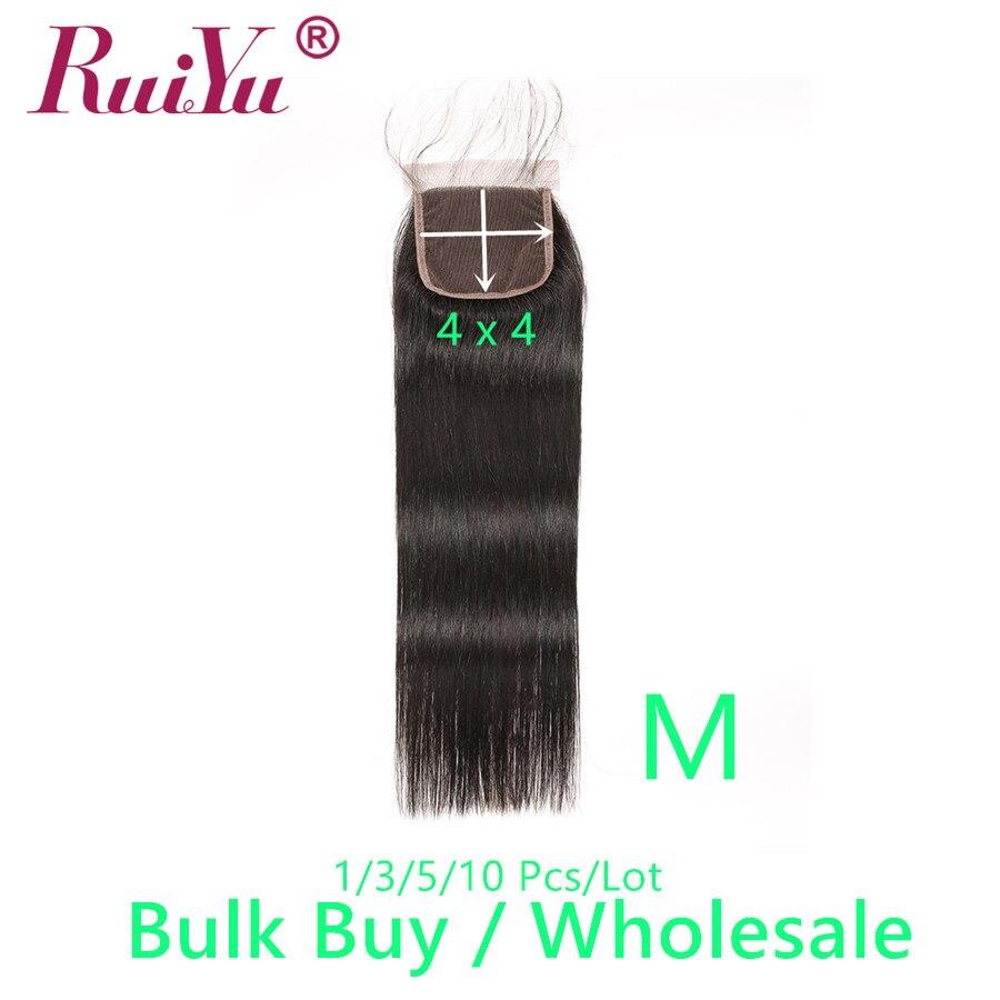 Venda a granel venda por atacado fechamento do laço 2 #4 # cor natural 1b # remy fechamento do cabelo humano 1/3/5/10 pces/lot ruiyu cabelo reto brasileiro