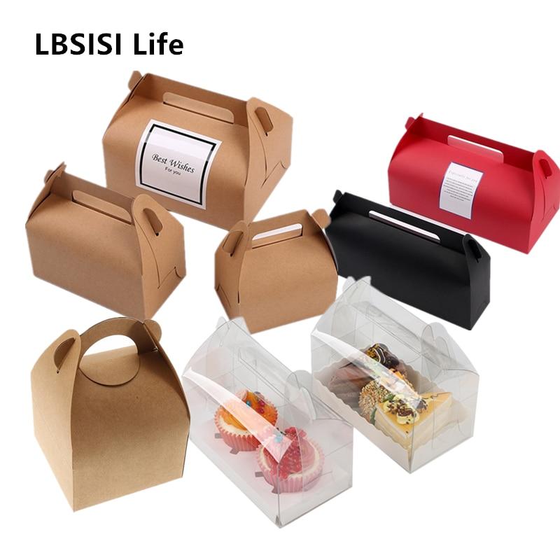 LBSISI Life 10 шт коробка для пирожных из крафт-бумаги с коробки с ручками на Рождество, день рождения, свадьбу, подарочная упаковка для конфет с на...