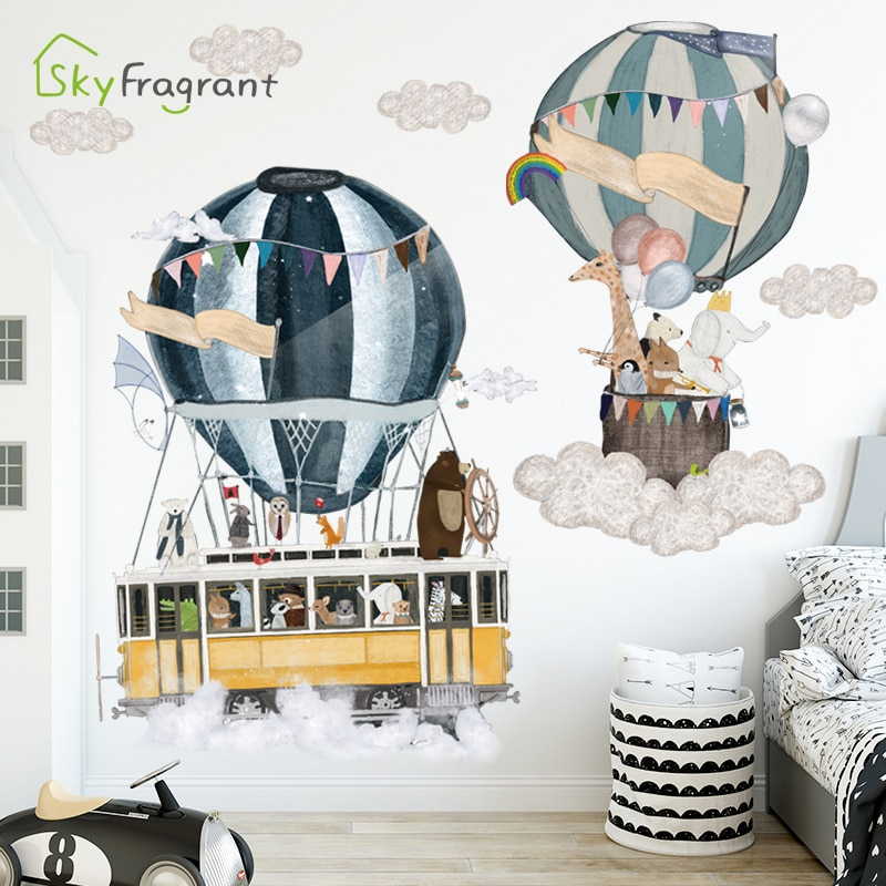 AliExpress - Cartoon ins hot air balloon travels wall stickers self-adhesive home bedroom wall decor kids room sticker baby room decoration