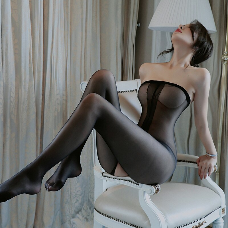 Sexy Open Crotch Tights Body Stockings Novelty & Special Use Transparent Bodysuit Erotic Underwear W