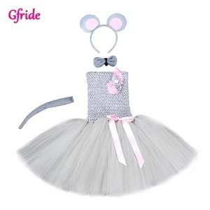 Tutu Dreams Mouse Costume For Girls 2-8Y Christmas Brown Tutu Dress with Tail Headband Fancy Birthday Hallowen Dress Up Outfits