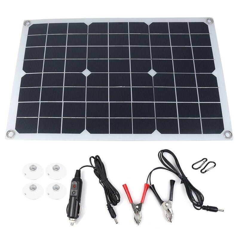 20 واط 12 فولت ألواح الطاقة الشمسية المحمولة عدة مع 10A شاشة الكريستال السائل الشمسية جهاز التحكم في الشحن خارج الشبكة وحدة أحادية