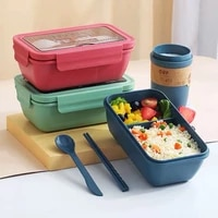 microwave lunch box food storage container with tableware wheat straw dinnerware kids school office portable bento box