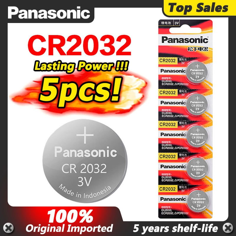 PANASONIC-Reloj de Pilas de litio, 3v, CR2032, CR 2032, botón, monedas, para...