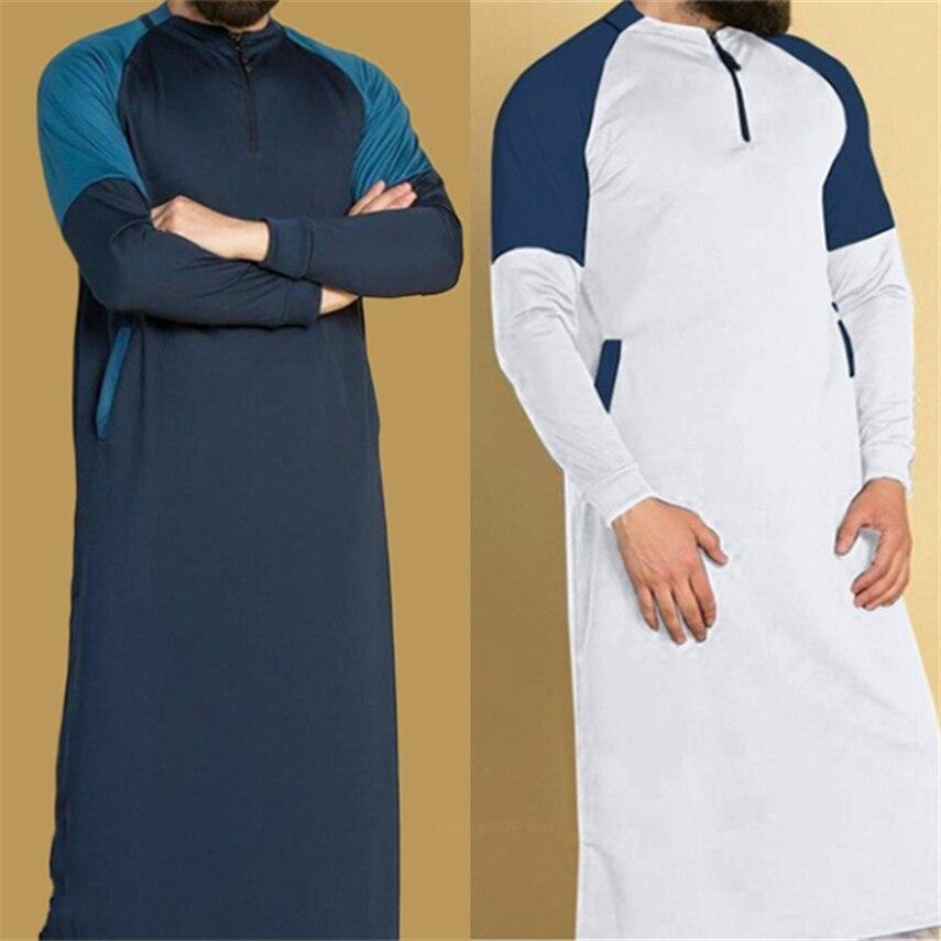 Arab Men Jubba Thobe Muslim Fashion Middle East Long Sleeve Eid Mubarak Karftan Dubai Abaya Dress Islamic Clothing Long Robe