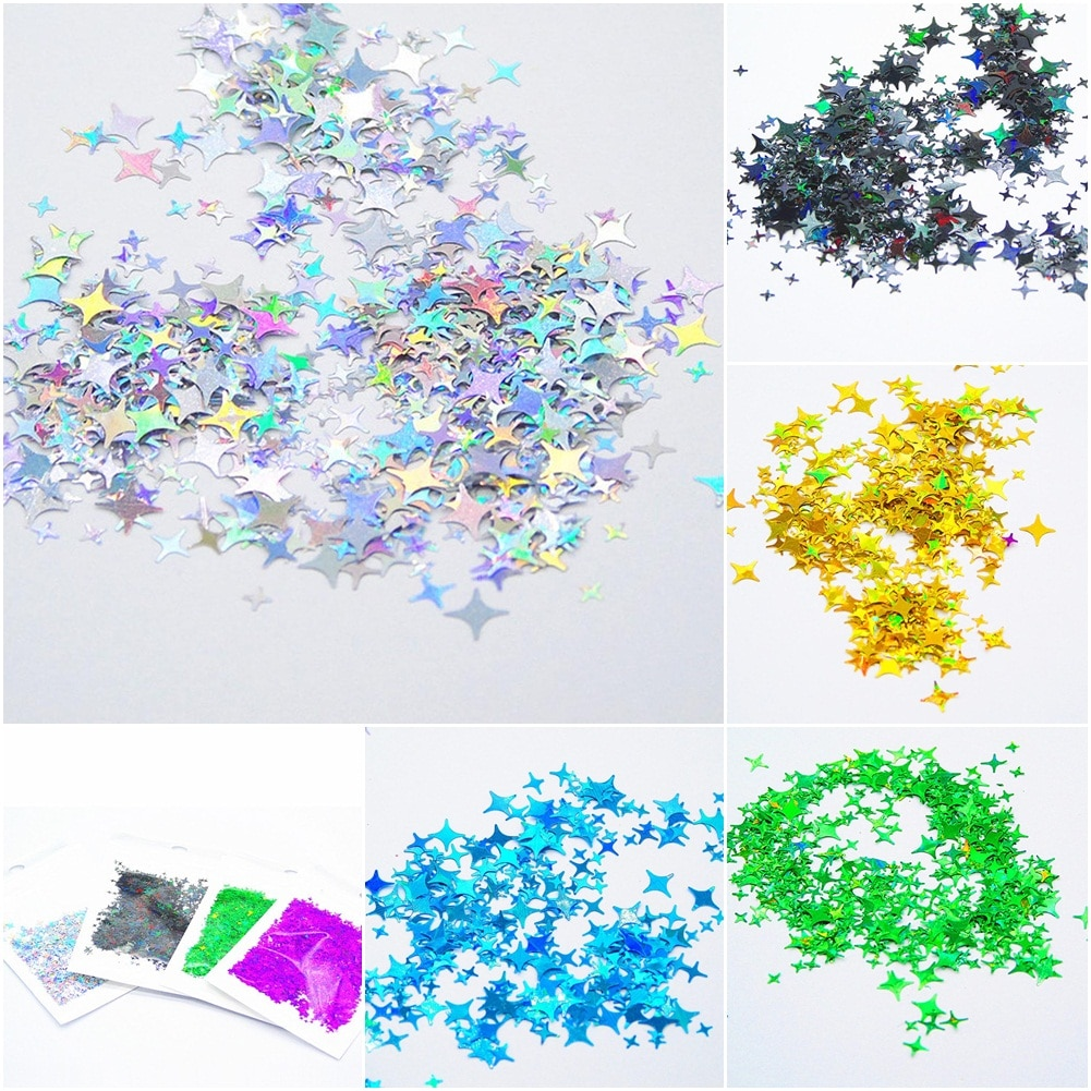 1 Bag Holographic Nail Art Sequins Laser Stars Glitter Flakes Paillette Maple Leaf Stickers For Nails Manicure Nail Decorations