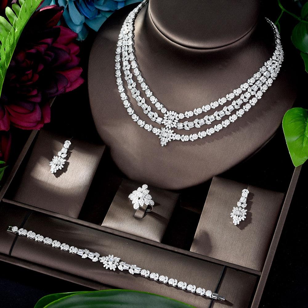 HIBRIDE Nigeria 4pcs Bridal Cubic Zirconia Jewelry Sets for Women Party Necklace Earring Set bijoux femme ensemble N-1194