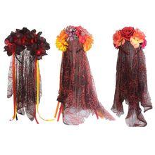 Women Girls Halloween Artificial Flower Headband with Spider Net Mesh Veil Day of The Dead Crown Mexican Long Ribbon Hair Hoop