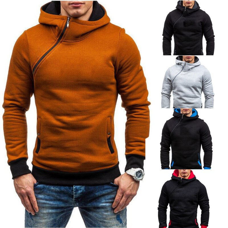 Mens Hoodies Mens Sweatshirt Side Zipper Thick Men Hoodies Patchwork Hoodie Men Multi-color Pullover Sweatshirt Men Loose Hoodie plain white color hollow out zipper side design sweatshirt