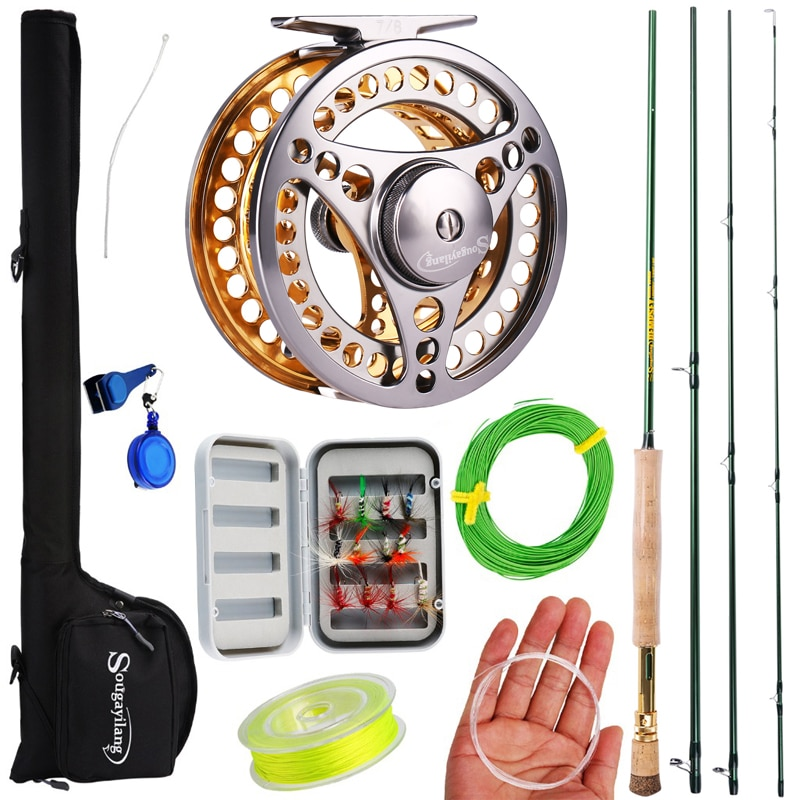 7/8 Fly Fishing Combo Portable 4 Sections Carbon Fiber Fishing Rod 2+1BB Fly Reel Line Lure Bag Full Accessories Set