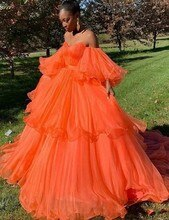 Nouveau hors de lépaule robe de bal Orange robes de bal 2020 chérie robes de soirée à manches longues robe de soirée africaine