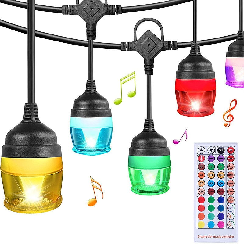 Intelligent Music voice control RGB 11M LED Ball String Lights for Christmas Fairy Outdoor Holiday Wedding Party Home Decoration