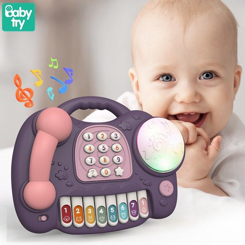 Новинка детский мобильный телефон Обучающие игрушки ручной барабан пианино музыка светлый Электрический Телефон обучающие игрушки для де...