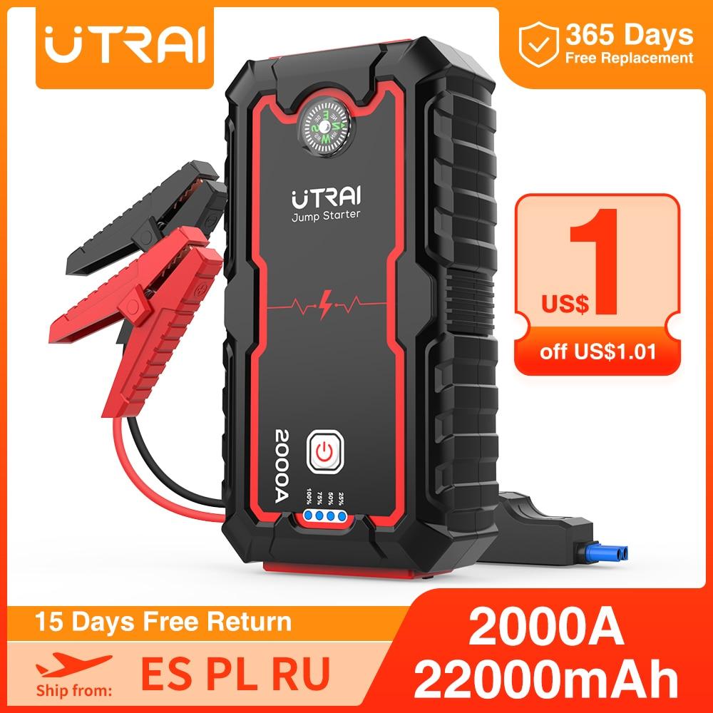 UTRAI 22000mAh/16000mah Car Jump Starter Power Bank Portable Car Battery Booster Charger 12V Starting Device Diesel Car Starter