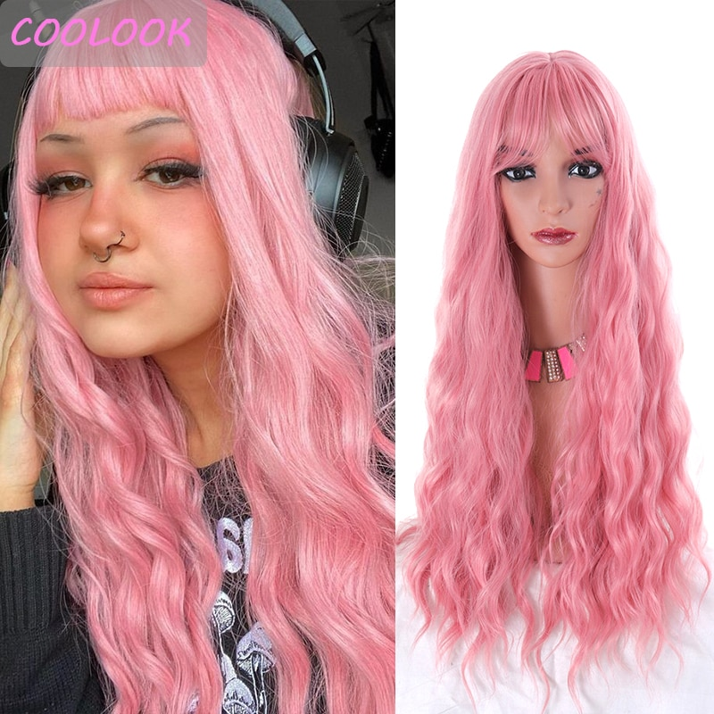 30 Inch Pink Water Wave Women's Wigs with Bangs African American Loose Wave Wig Natural Synthetic Fibre Fake Hair Peruca Cosplay