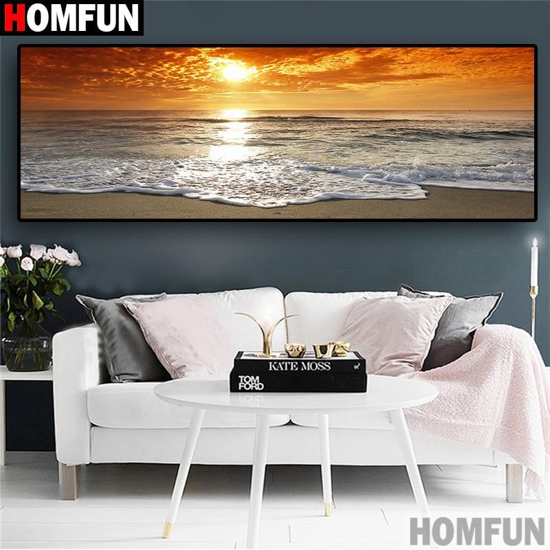 "HOMFUN Diamond Painting ""Dusk sunset seascape"" DIY 5D Diamond Embroidery Sale Full Set Rhinestone Cross Stitch Home Decor A30012"