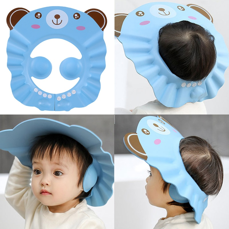 Baby Shower Soft Cap Adjustable Hair Wash Hat for Kids Ear Protection Safe Children Shampoo Bathing