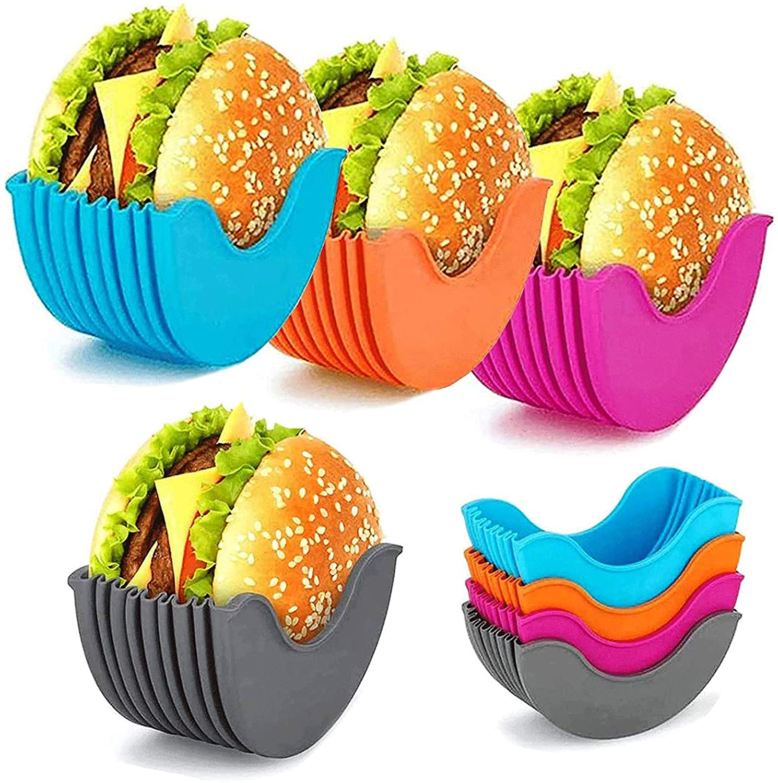 1pc Reusable Burger Holder Silicone Shelf Hamburger Tools Fixed Rack Holder Storage Kitchen Organizer Box Kitchen Accessories