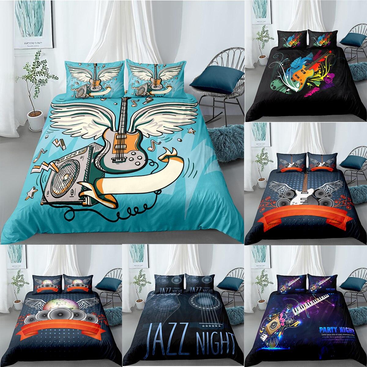 طقم سرير الموسيقى الإبداعية الغيتار الموسيقى ملاحظة حاف الغطاء الملكة غطاء سرير ملكي المعزي غطاء الغيتار المفارش غطاء لحاف