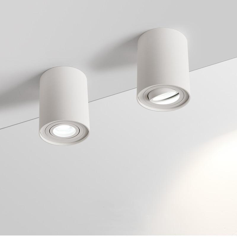 Lámpara LED de techo montada en superficie, carcasa para luz empotrada blanca/negra con bombilla GU10 reemplazable, foco de techo de LED 9W 12W 15W