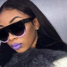 Hot Trendy Brand Designer Retro Flat Top Sunglasses Women Rivet Shades Sun Glasses For Female Big Sq