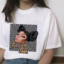 Новые серьги, футболка с принтом для девочек, женская футболка Harajuku, модная футболка с графикой, Милая футболка с героями мультфильмов, топы в Корейском стиле, женские панк-парки